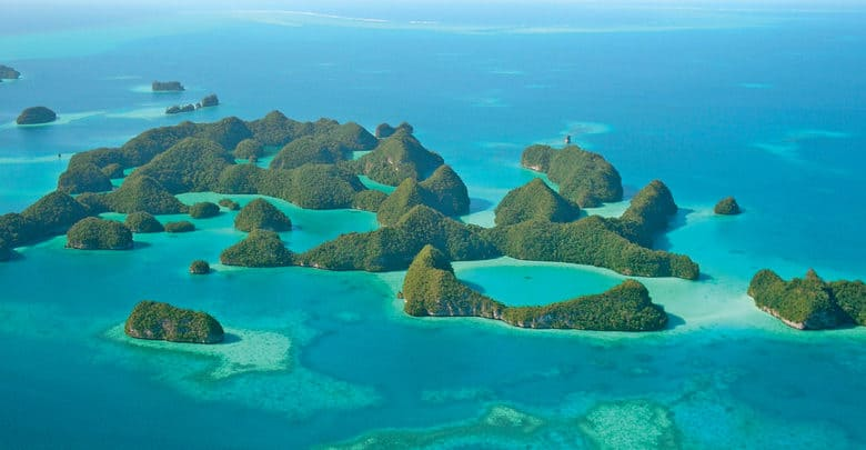 Aerial view of some of the Micronesia islands