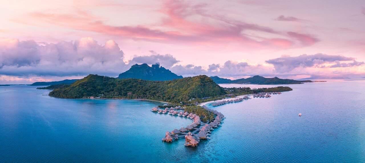 View of a sunset in Bora Bora, French Polynesia