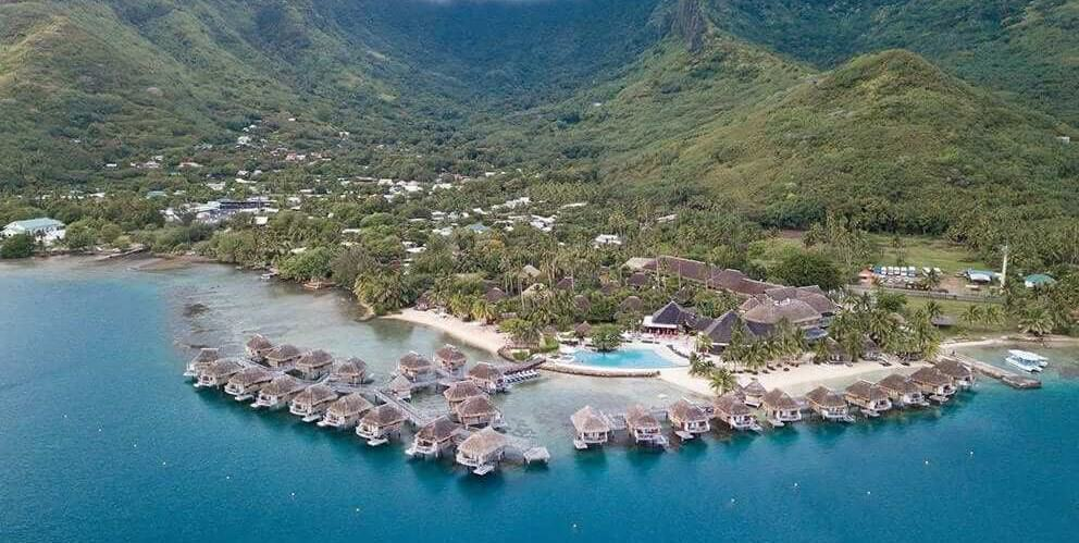 View of a resort in Moorea, French Polynesia
