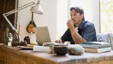 Man experiencing the advantages of working from home